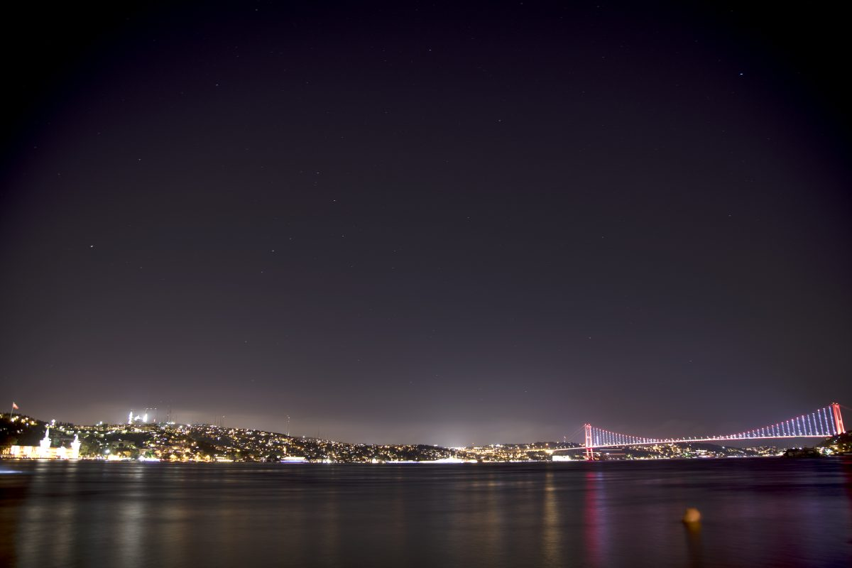 Bosphorus long exposure bridge night stars